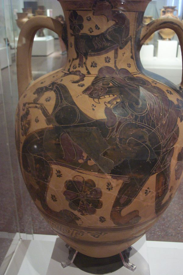 Black-figure painting of the Chimera on an Attic vase