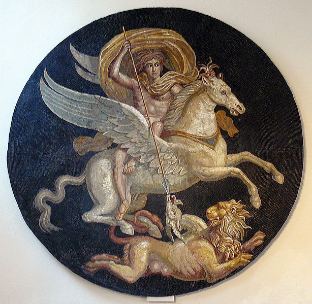 Bellerophon defeats the Chimera with the aid of the winged horse Pegasus