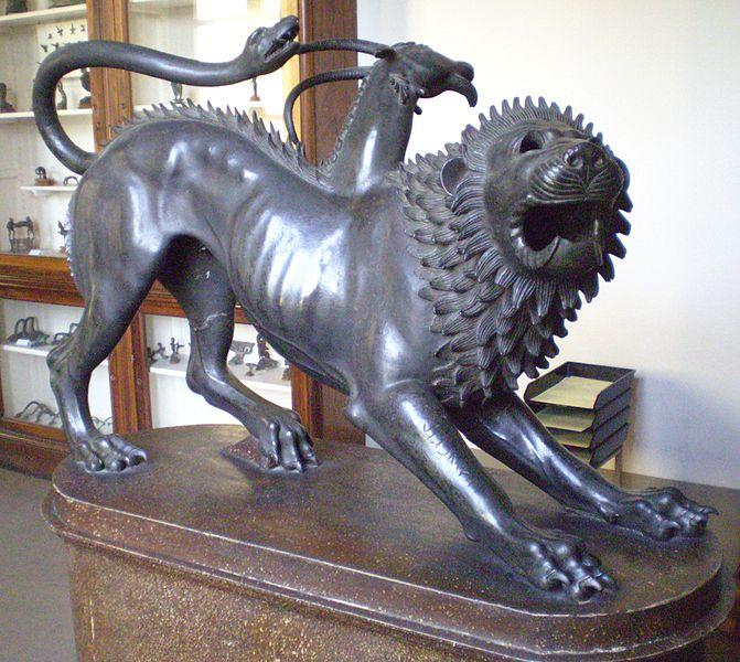 Chimera di Arezzo, Etruscan statue of the Chimera, cast in bronze.