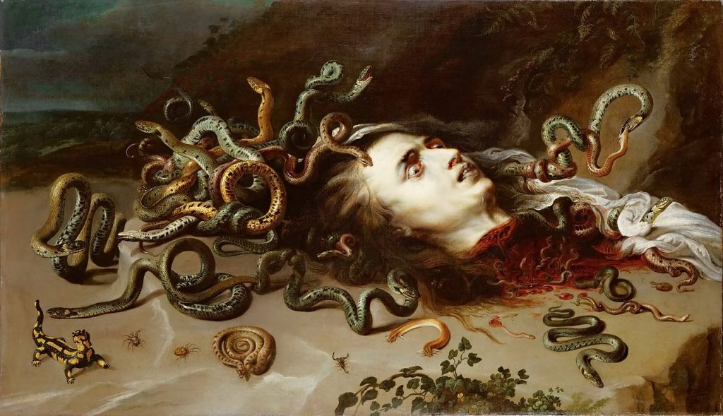 Painting of the Medusa's severed head by Peter Paul Rubens